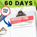 Saving for emergency fund has never been easier! Use this free printable as a tracker for your savings plan. This emergency fund challenge includes moneys saving tips that will make sure your save 1000 in less than 60 days. Enjoy financial peace and debt free living!