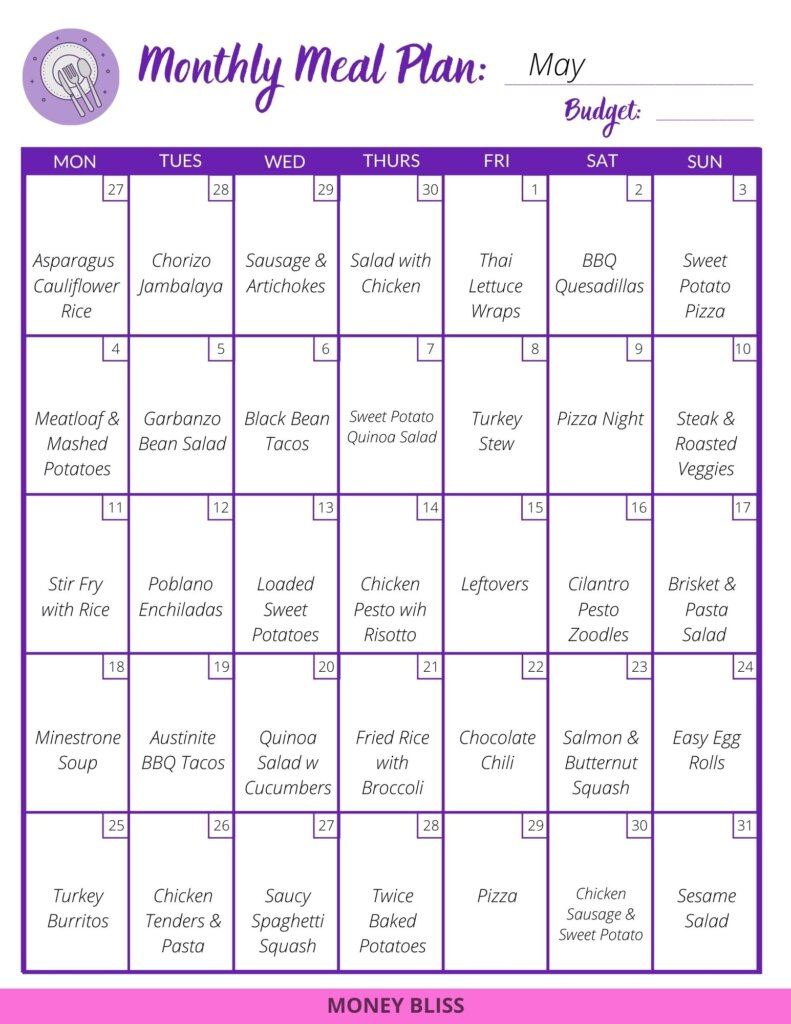 Sample Meal planning calendar with a full month of recipes. Find menu plan ideas to feed your family. Eat healthy and stay on budget. #mealplan #frugal #meals