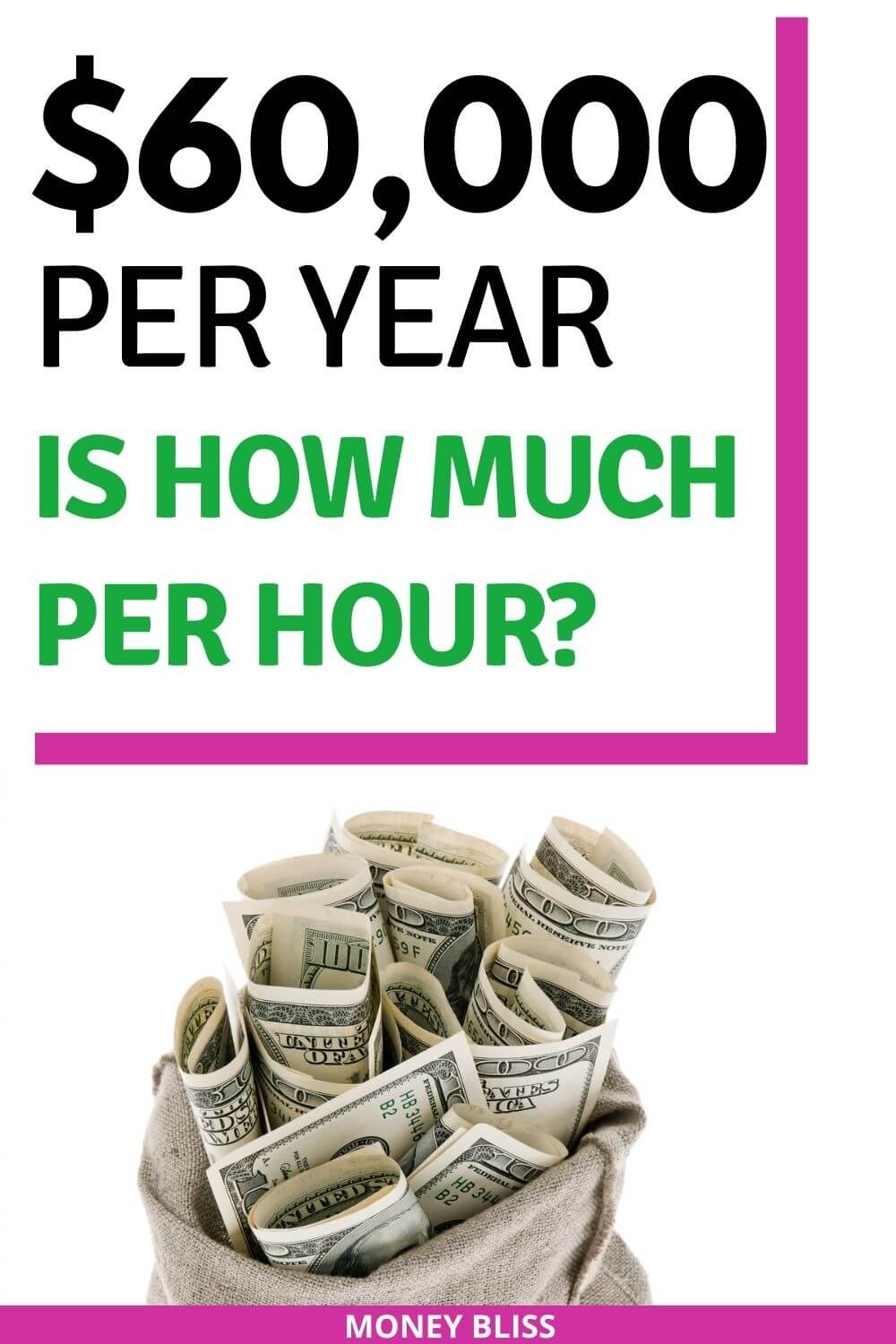 $60,000 a year is how much an hour? Learn how much your 60k salary is hourly. Plus find a 60000 salary budget to live the lifestyle you want. Find out how much you make hourly, daily, weekly, biweekly and monthly. This post from Money Bliss covers single person as well as a family. Is $60k a good salary? Click here and find out.