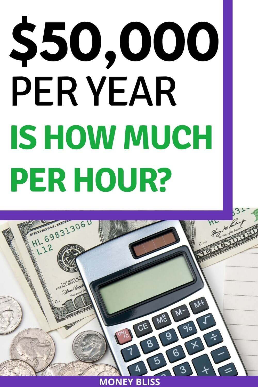$50,000 a year is how much an hour? Learn how much your 50k salary is hourly. Plus find a 50000 salary budget to live the lifestyle you want. Find out how much you make hourly, daily, weekly, biweekly and monthly. This post from Money Bliss covers single person as well as a family. Is $50k a good salary? Click here and find out.