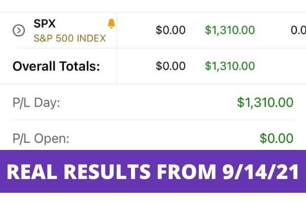 Picture of my real trading results of $1310 profit.